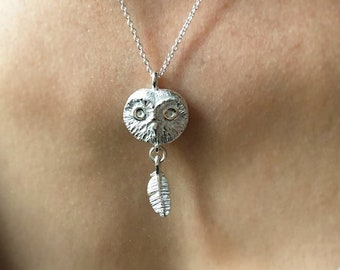 Silver Owl Feather Necklace - One of a Kind