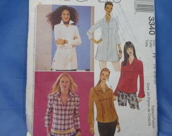 McCalls 3340, Shirt Sewing Pattern, 16 - 22, Uncut