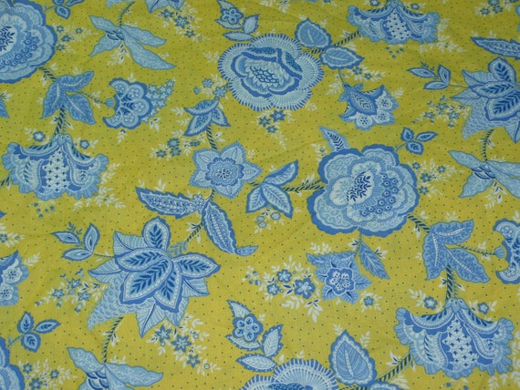 a27efeaf6eab Yellow and Blue Floral Print Marcus Bros. MBT 1 1 8 YD