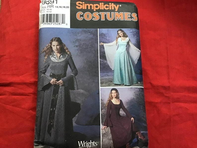 Simplicity 9891 Sewing Pattern, Medieval Dress Costume, 14, 16, 18, 20