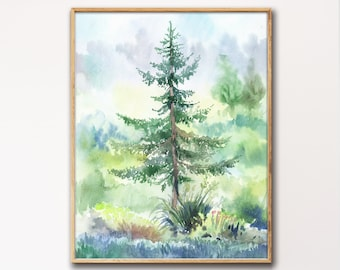 Watercolor Trees Print, Trees Painting, Tree Wall Art, Nature Art, Landscape Painting, Watercolor Wall Art, Tree Painting, Nature Print