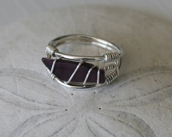 Size US 6.5 Purple Recycled Glass & Sterling Silver Ring