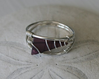 US Size 9.5 Purple Recycled Glass & Sterling Silver Ring