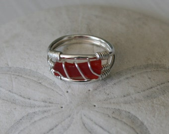 Size US 5 Red Recycled Glass & Sterling Silver Ring