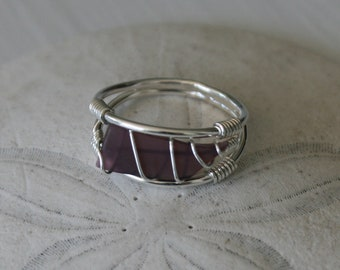 US Size 8 Purple Recycled Glass & Sterling Silver Ring
