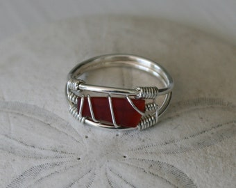 US Size 7.5 Red Recycled Glass & Sterling Silver Ring