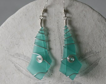 Turquoise Recycled Glass & Silver Spiral Wire Wrapped Earrings