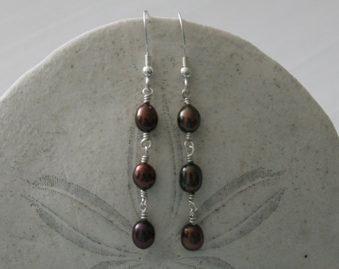 Featured listing image: Black Pearl Trio Earrings with Sterling Silver