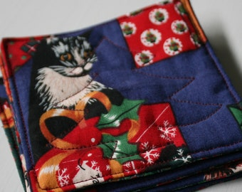 Quilted Christmas Kitten Coasters - Set of 4