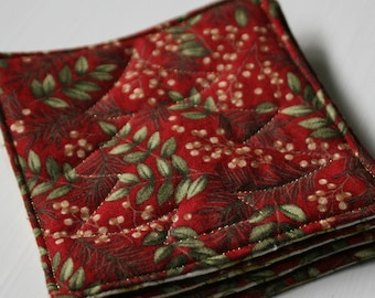 Quilted Reversible Red & White Christmas Coasters - Set of 4