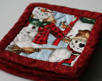Quilted Christmas Coasters - Set of 4 (2 snowman and 2 kitten)