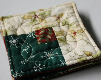 Quilted Christmas Coasters - Set of 4