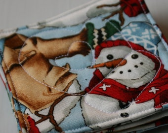 Quilted Snowman Christmas Coasters - Set of 4