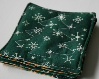 Quilted Reversible Green Christmas Coasters - Set of 4