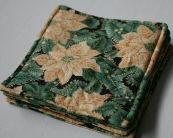 Quilted Poinsettia Christmas Coasters - Set of 4