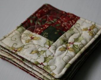 Quilted Christmas Holly Coasters - Set of 4