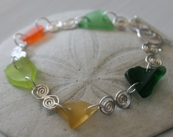 Fall Colours Recycled Glass & Sterling Silver Bracelet