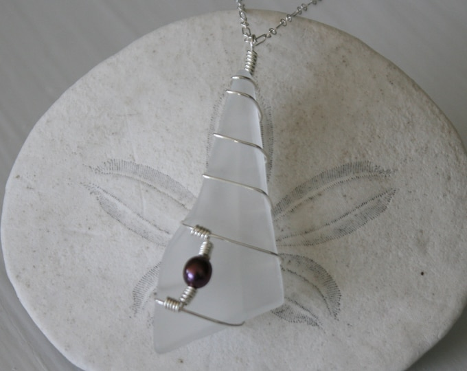 Featured listing image: White Recycled Glass Wire Wrapped Pendant with Black Pearl and Sterling Silver