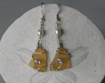 Yellow Recycled Glass Earrings with Pearls & Silver Spirals