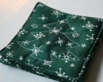 Quilted Green Christmas Coasters - Set of 4