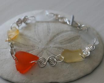 Orange Recycled Glass & Sterling Silver Bracelet