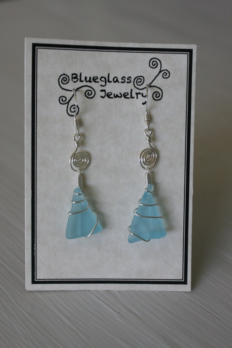 Blue Recycled Glass Earrings with Silver Spirals
