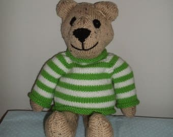 Knitted Bear in Green/White Sweater