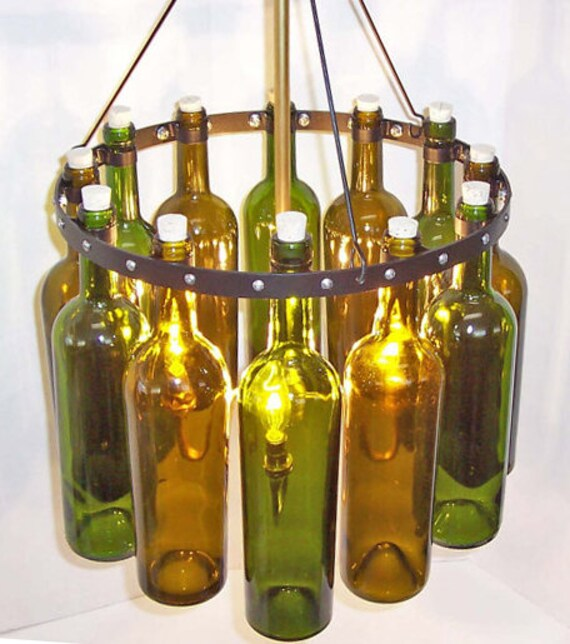 """Items Similar To 16"""" Recycled Wine Bottle Chandelier, """"Sea"""