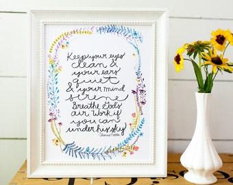 watercolor quote print, inspirational print, thomas merton, floral quote print, inspirational quote