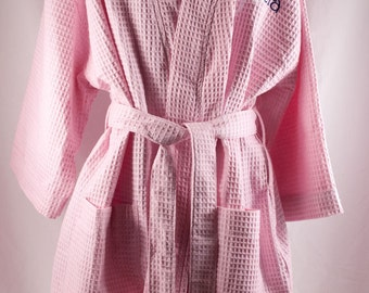 Ladies Birthday Gift Bridesmaid Robes Monogrammed Waffle Weave Robe for Getting Ready N7 Spa Day Cover Up Maternity Robe for Hospital