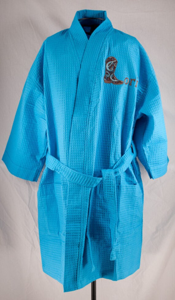 61d2187132 Personalized Waffle Weave Kimono Robe Thigh Length Spa Robe