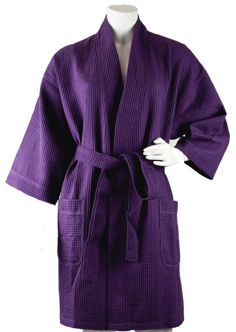 Personalized Robe Waffle Weave Spa Kimono Dark Purple  Monogrammed