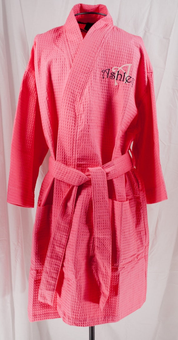 bf9bad4e29 Personalized Robe Hot Pink Bridesmaids Gifts Waffle Weave