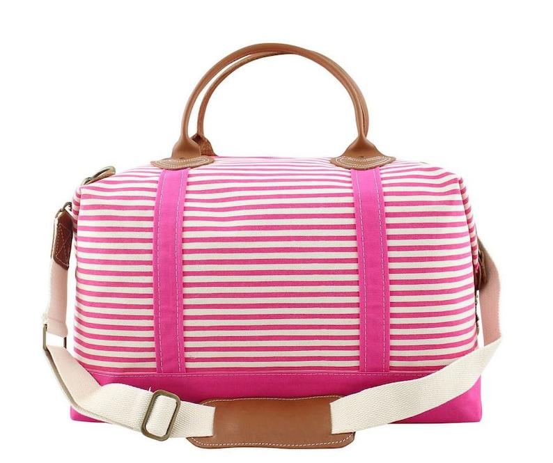 Canvas Weekender Bag Monogrammed Hot Pink Stripe Totebag Duffel Bag Carry On Bag Canvas Tote with Leather Trim Gym Bag Luggage