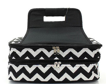 Personalized Casserole Carrier Double Insulated Chevron Print Black and White Embroidered