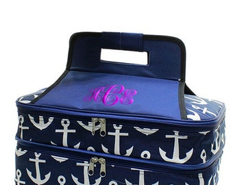 Personalized Casserole Carrier, Double Insulated Casserole Carrier, Anchor Print Tote, Picnic Bag, Anchor Casserole Bag