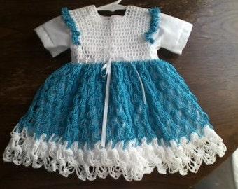Newborn to Three Month Teal Crochet Dress With Under Dress