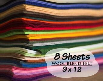 Wool Blend Felt Sheets, 9 x 12 inches, Choose 8 Colors, Wool Felt, Craft Felt, Needle Crafts, Sewing Supply, Scrapbooking, Felting