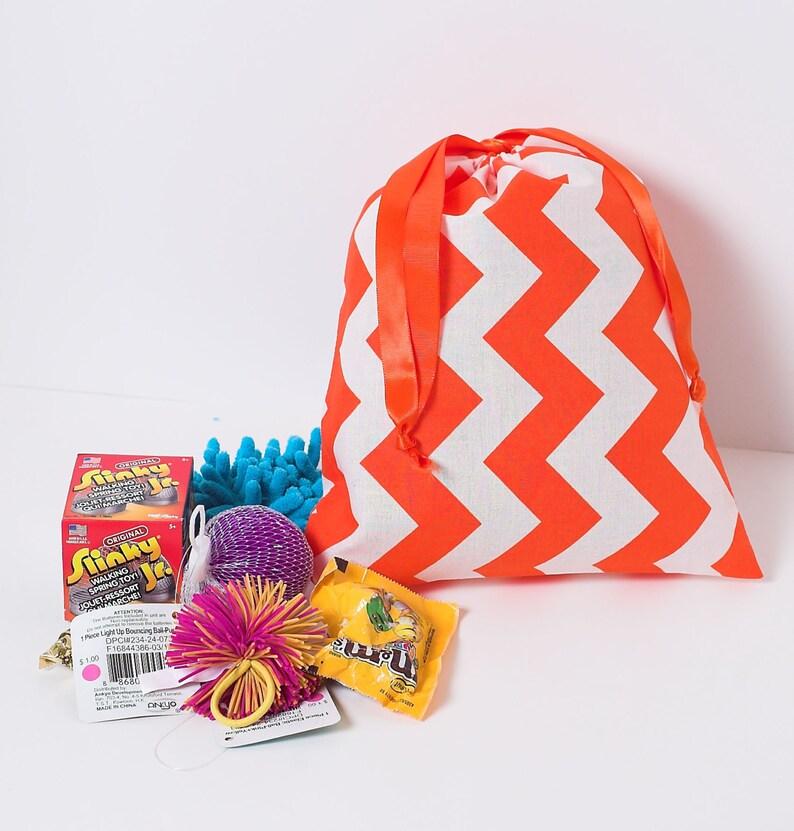 Goodie Bag Kids Birthday Set of 4 Fabric Gift Bag Orange Chevron Drawstring Party Favor Bag