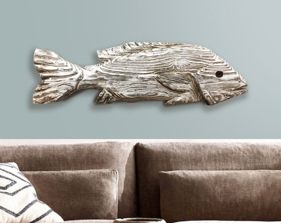 """Driftwood 25"""" Snapper Wood Fish 2D Sculpture Beach Décor by SEASTYLE"""