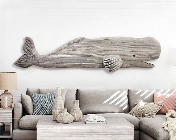 "Driftwood Whale 52"" Gray Wood 2D Sculpture Beach Décor by SEASTYLE"