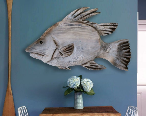 "Sale 15 % Off Hogfish 21""x12"" Beach Décor Wall Wood 2d sculpture by SEASTYLE"