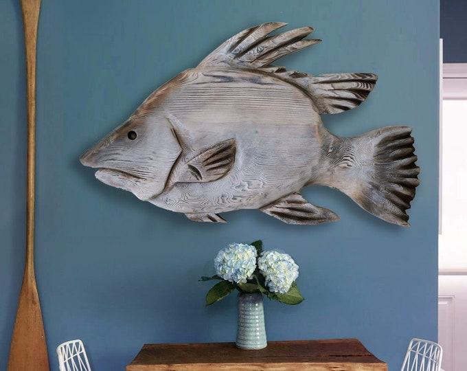 """Hogfish 21""""x12"""" Beach Décor Wall Wood 2d sculpture by SEASTYLE"""