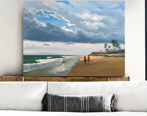 "Original Oil Painting 30x 40inch ""Along the beach"" by Bo Kravchenko FREE SHIP"