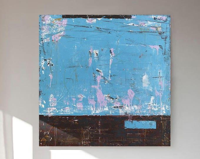 "Abstract ""BLUE WINDOW"" 36X36"" Contemporary Art Acrylic Beach Wall Decor"