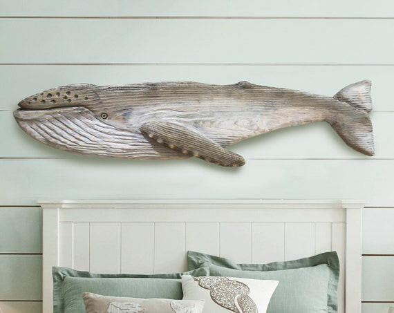 """Whale 52"""" Humpback Gray Driftwood 2D Sculpture Beach Décor by SEASTYLE"""