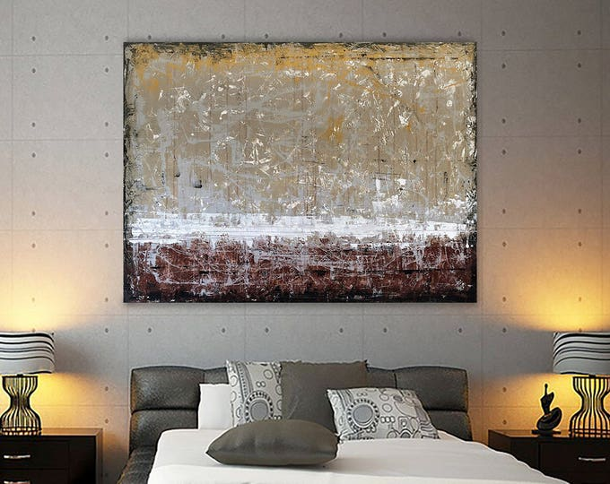 """Sale 20% off Original Acrylic Painting,  """"Abstract Landscape 04/24/17"""" Wall Art Modern Contemporary Brown Black White"""