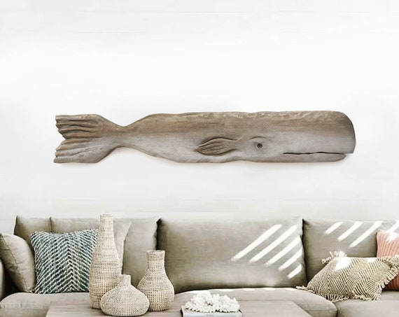 """Driftwood 46 """" Whale Facing the Right  2D sculpture Beach Décor by SEASTYLE"""
