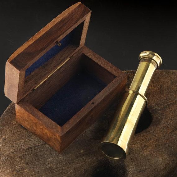 Brass Telescope Nautical Wood Box  SeaStyle