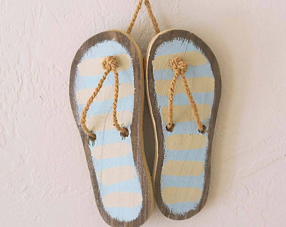 Beach decor Flip Flop Sandals Nautical Beach Wall Wood Distressed Blue by SEASTYLE